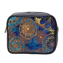 Abstract Pattern Gold And Blue Mini Toiletries Bag 2 Side