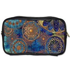 Abstract Pattern Gold And Blue Toiletries Bags 2 Side