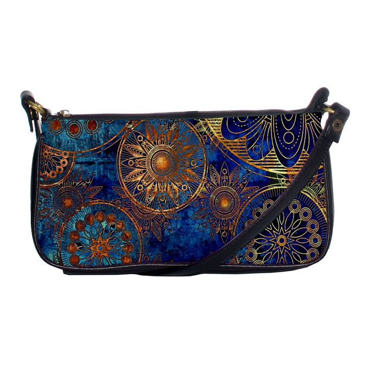 Abstract Pattern Gold and blue Shoulder Clutch Bags