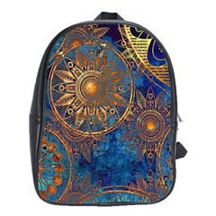 Abstract Pattern Gold And Blue School Bag (xl)