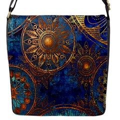 Abstract Pattern Gold And Blue Flap Messenger Bag (s)