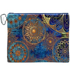 Abstract Pattern Gold And Blue Canvas Cosmetic Bag (xxxl)