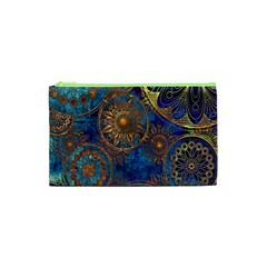 Abstract Pattern Gold And Blue Cosmetic Bag (xs)
