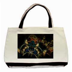 Abstract Pattern Dark Blue And Gold Basic Tote Bag