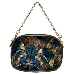 Abstract Pattern Dark Blue And Gold Chain Purses (two Sides)