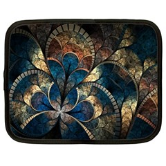 Abstract Pattern Dark Blue And Gold Netbook Case (xl)