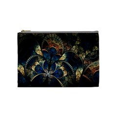 Abstract Pattern Dark Blue And Gold Cosmetic Bag (medium)