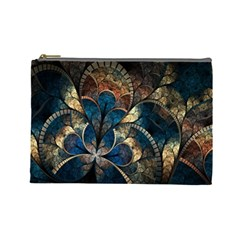 Abstract Pattern Dark Blue And Gold Cosmetic Bag (large)