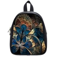 Abstract Pattern Dark Blue And Gold School Bag (small)
