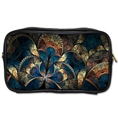 Abstract Pattern Dark Blue And Gold Toiletries Bags