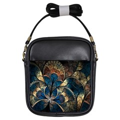 Abstract Pattern Dark Blue And Gold Girls Sling Bags