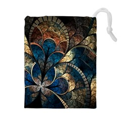 Abstract Pattern Dark Blue And Gold Drawstring Pouches (extra Large)