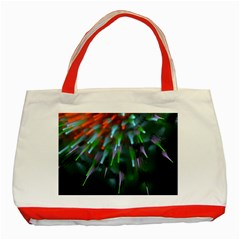 Explosion Rays Fractal Colorful Fibers Classic Tote Bag (red)