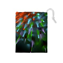 Explosion Rays Fractal Colorful Fibers Drawstring Pouches (medium)