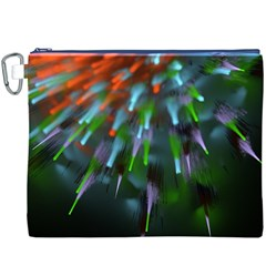 Explosion Rays Fractal Colorful Fibers Canvas Cosmetic Bag (xxxl)