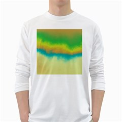 Ombre White Long Sleeve T Shirts