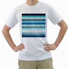 Texture Stripes Horizontal Blue Gray Men s T Shirt (white) (two Sided)