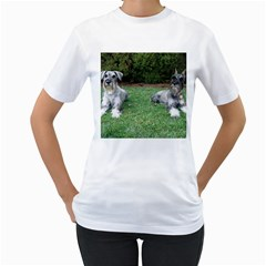 2 Standard Schnauzers Women s T Shirt (white) (two Sided)
