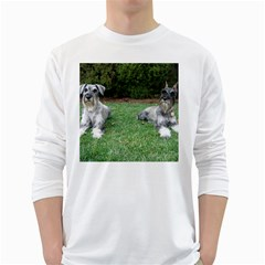 2 Standard Schnauzers White Long Sleeve T Shirts