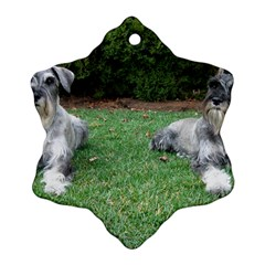 2 Standard Schnauzers Snowflake Ornament (two Sides)