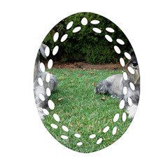 2 Standard Schnauzers Ornament (oval Filigree)