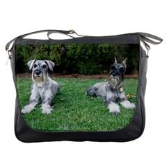 2 Standard Schnauzers Messenger Bags