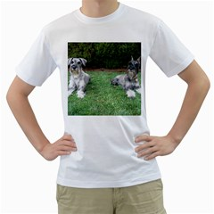 2 Standard Schnauzers Men s T Shirt (white)