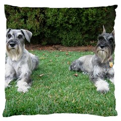 2 Standard Schnauzers Large Flano Cushion Case (one Side)