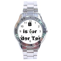 B Is For Border Terrier Stainless Steel Analogue Watch