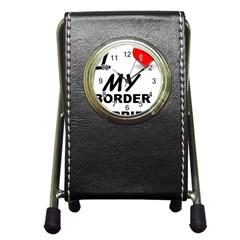 Border Terrier Love Pen Holder Desk Clocks