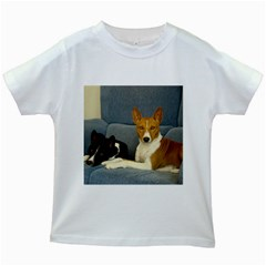 2 Basenjis Kids White T Shirts