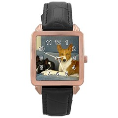 2 Basenjis Rose Gold Leather Watch
