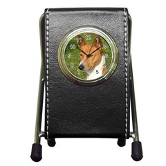 Basenji 2 Pen Holder Desk Clocks