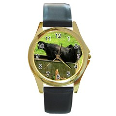 2 Full Flat Coated Retriever Round Gold Metal Watch
