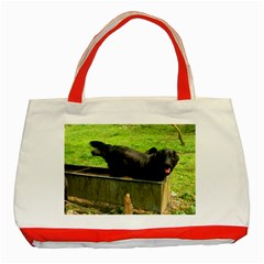 2 Full Flat Coated Retriever Classic Tote Bag (red)