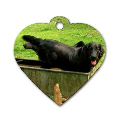 2 Full Flat Coated Retriever Dog Tag Heart (two Sides)