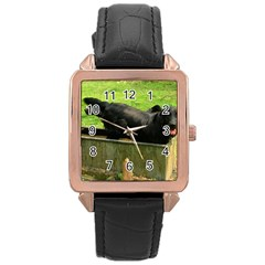2 Full Flat Coated Retriever Rose Gold Leather Watch