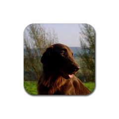 Flat Coated Retriever Rubber Square Coaster (4 Pack)