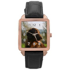 Flat Coated Retriever Rose Gold Leather Watch