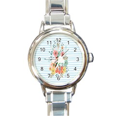 Watercolor Bouquet Floral White Round Italian Charm Watch