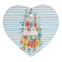 Watercolor Bouquet Floral White Ornament (heart)