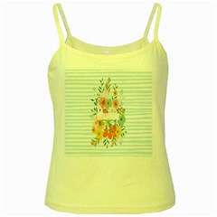 Watercolor Bouquet Floral White Yellow Spaghetti Tank