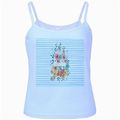 Watercolor Bouquet Floral White Baby Blue Spaghetti Tank