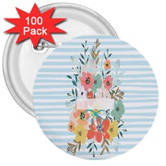 Watercolor Bouquet Floral White 3  Buttons (100 Pack)