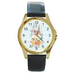 Watercolor Bouquet Floral White Round Gold Metal Watch