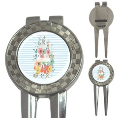 Watercolor Bouquet Floral White 3 In 1 Golf Divots