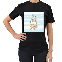 Watercolor Bouquet Floral White Women s T Shirt (black) (two Sided)