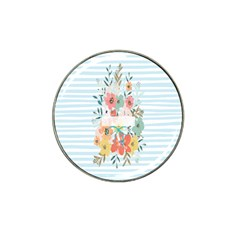 Watercolor Bouquet Floral White Hat Clip Ball Marker (4 Pack)