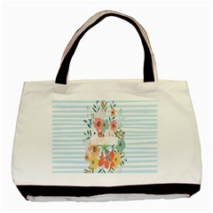 Watercolor Bouquet Floral White Basic Tote Bag