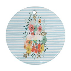 Watercolor Bouquet Floral White Round Ornament (two Sides)